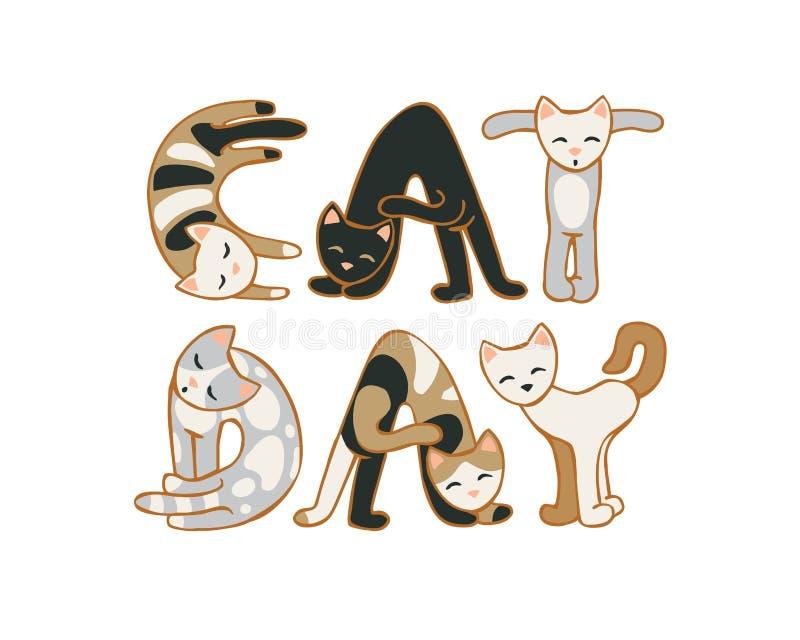 Día del gato 8 de agosto día de fiesta Inscripción de gatos stock de ilustración