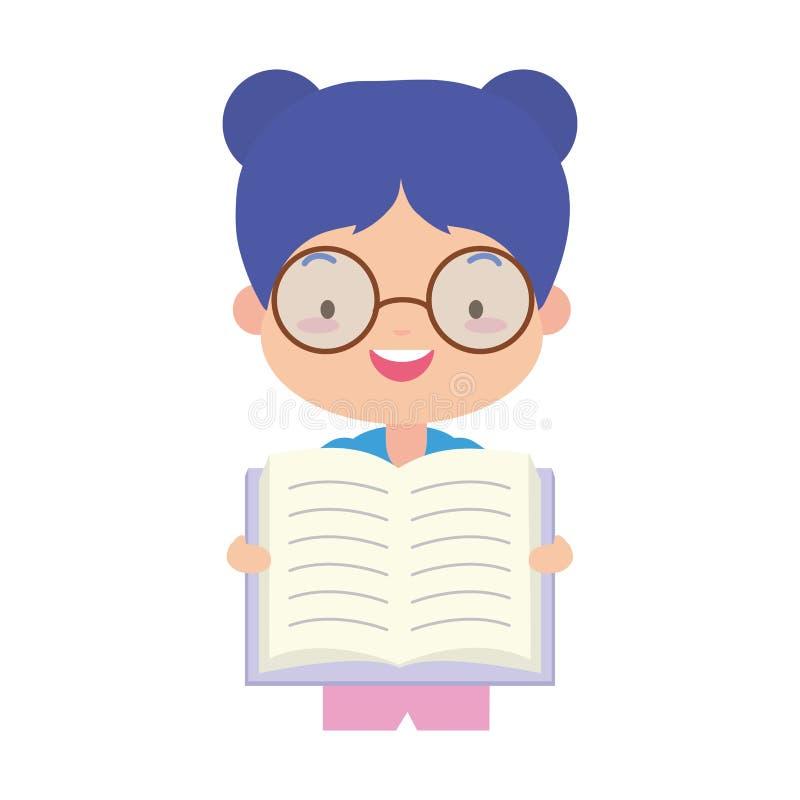 Día del libro del mundo de la muchacha stock de ilustración
