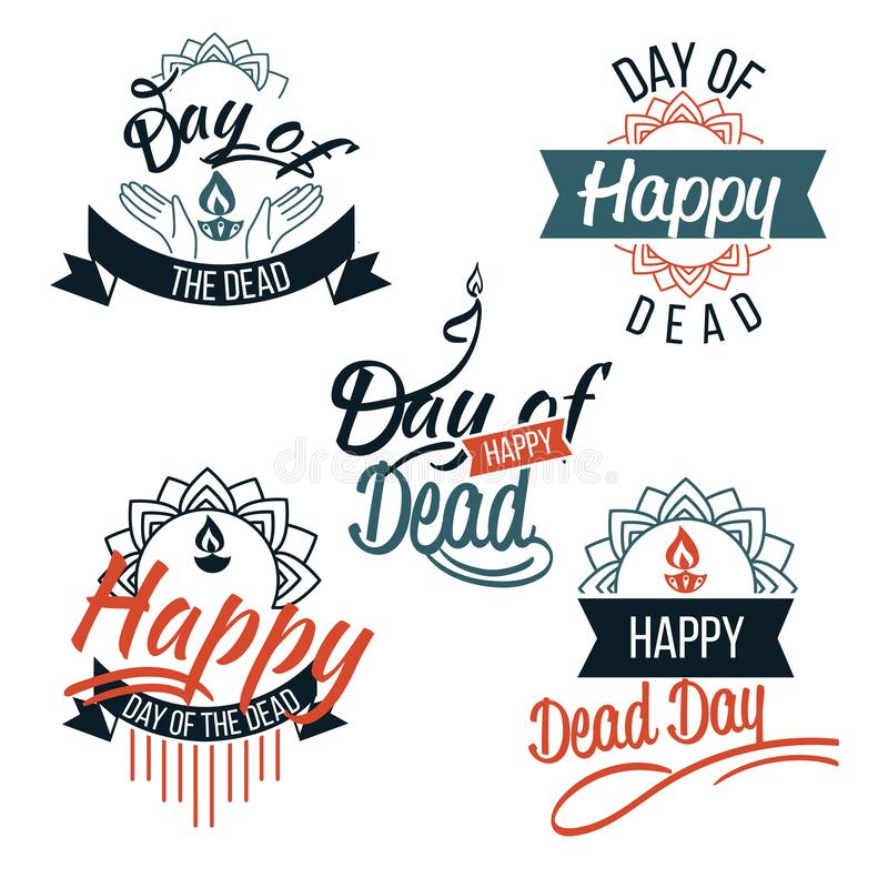 Día del logotipo muerto con el sistema de las letras stock de ilustración