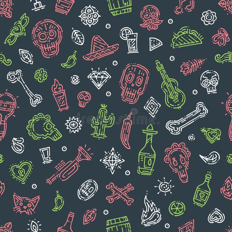 Día del modelo dibujado mano mexicana del festival del día de fiesta de la muerte stock de ilustración