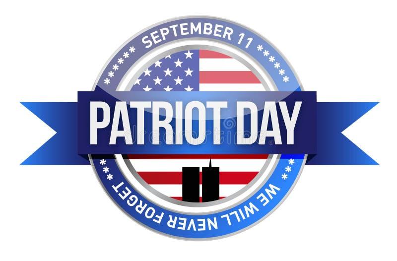 Día del patriota. nosotros sello y bandera libre illustration