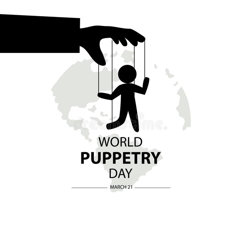 Día del Puppetry del mundo, el 21 de marzo ilustración del vector