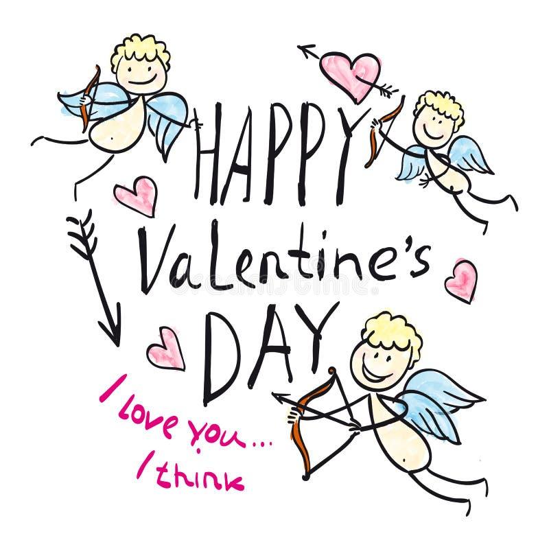 Día del ` s de la tarjeta del día de San Valentín de la impresión stock de ilustración