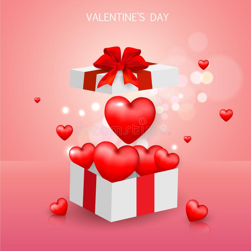Día del ` s de la tarjeta del día de San Valentín de la caja de regalo, plantilla de la bandera de la venta corazón rojo y blanco ilustración del vector