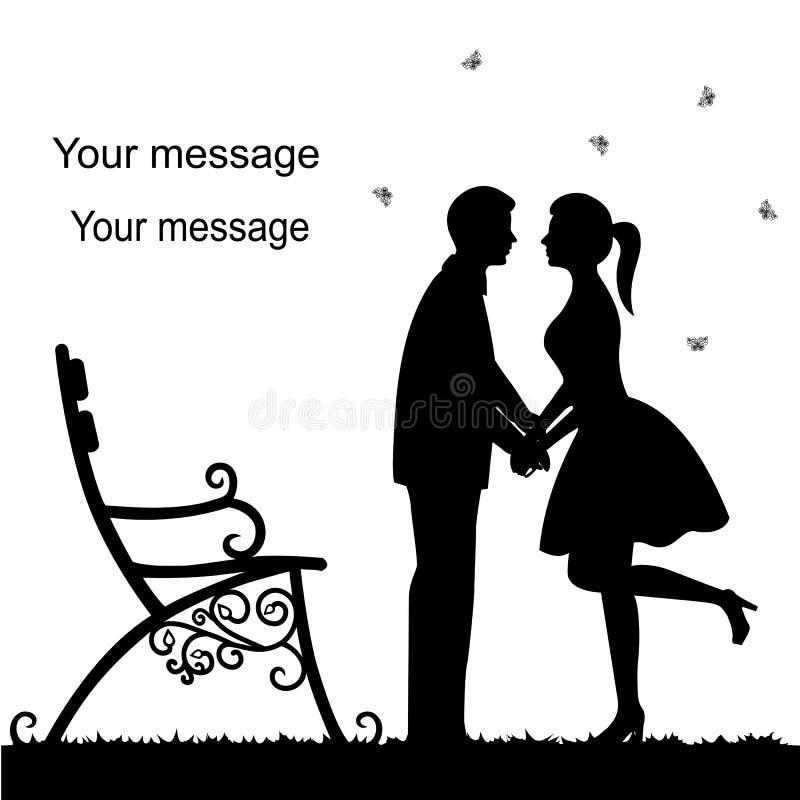 Día del `s de la tarjeta del día de San Valentín Tarjeta con con un par en un fondo blanco w ilustración del vector