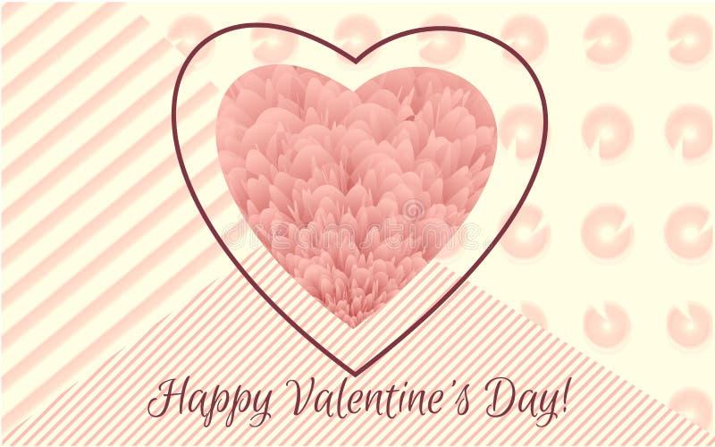 Día del `s de la tarjeta del día de San Valentín Cubierta y sistema mullidos florales coloridos abstractos del cartel Bandera de  stock de ilustración