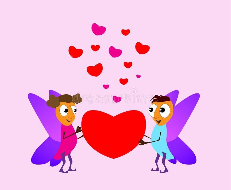 Día del `s de la tarjeta del día de San Valentín Duende del muchacho y de la muchacha Tarjetas del amor Rojo y corazones doblados stock de ilustración