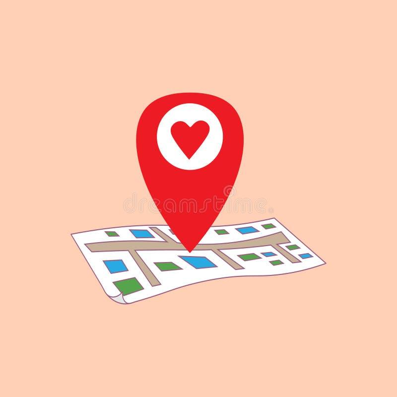 Día del `s de la tarjeta del día de San Valentín Geolocation ilustración del vector
