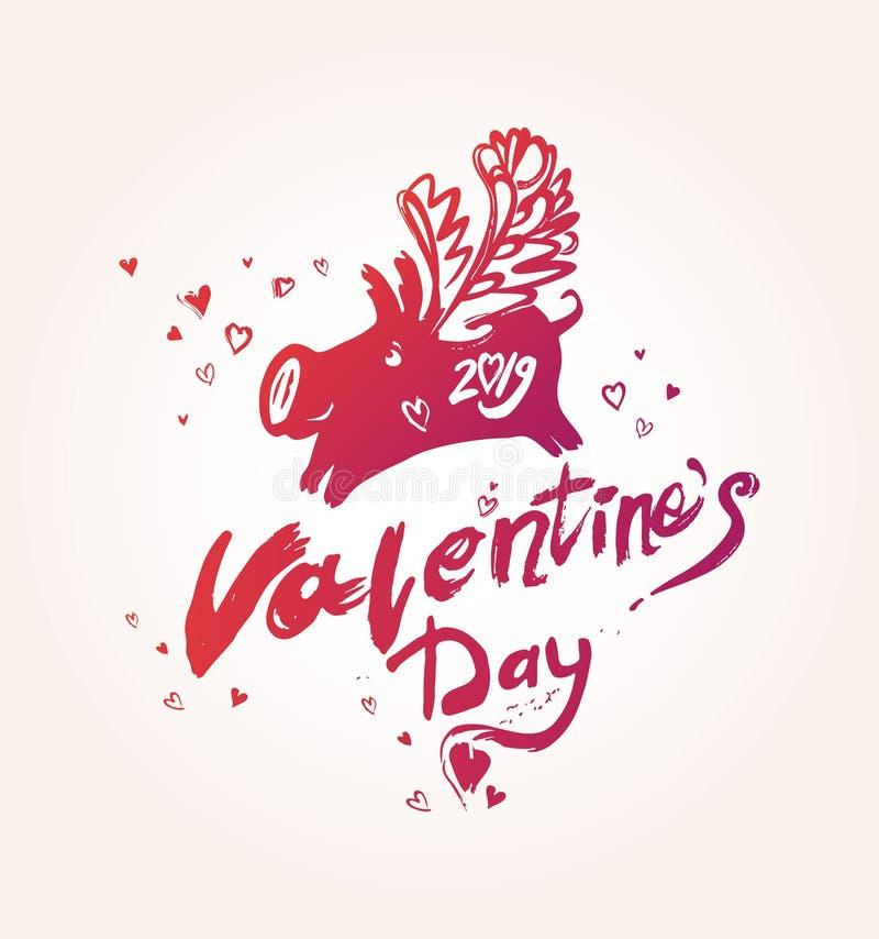 Día del `s de la tarjeta del día de San Valentín La inscripción manuscrita roja y el cerdo con alas en amor y los corazones airos ilustración del vector