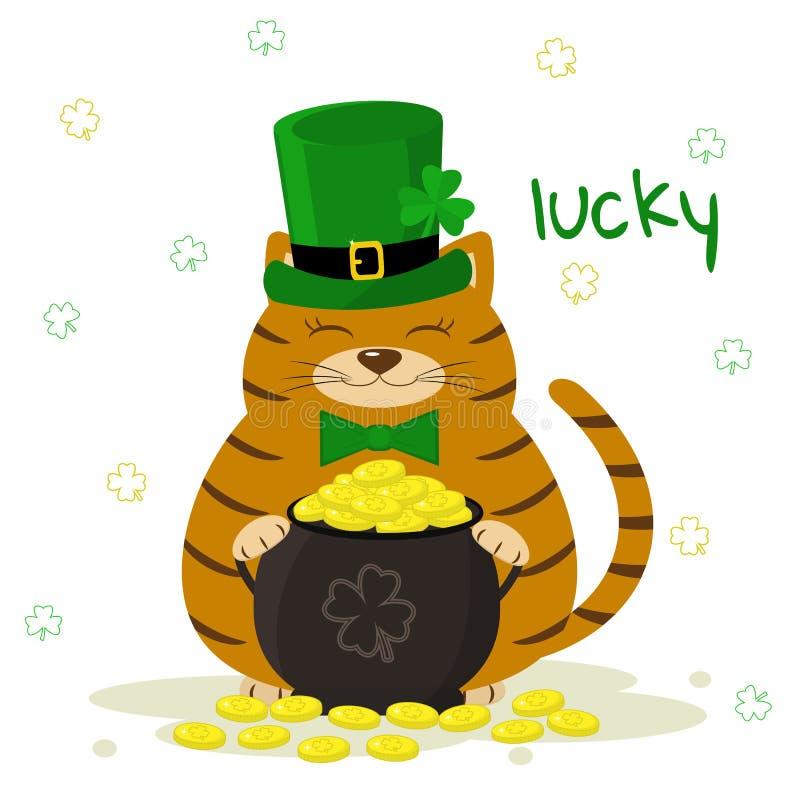 Día del ` s de StPatrick Gato rayado rojo en un sombrero verde del duende, jugador de bolos con las monedas de oro, trébol Estilo stock de ilustración