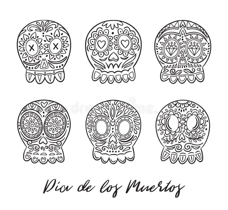 Día del sistema muerto del vector de los cráneos del azúcar Días de fiesta mexicanos ilustración del vector