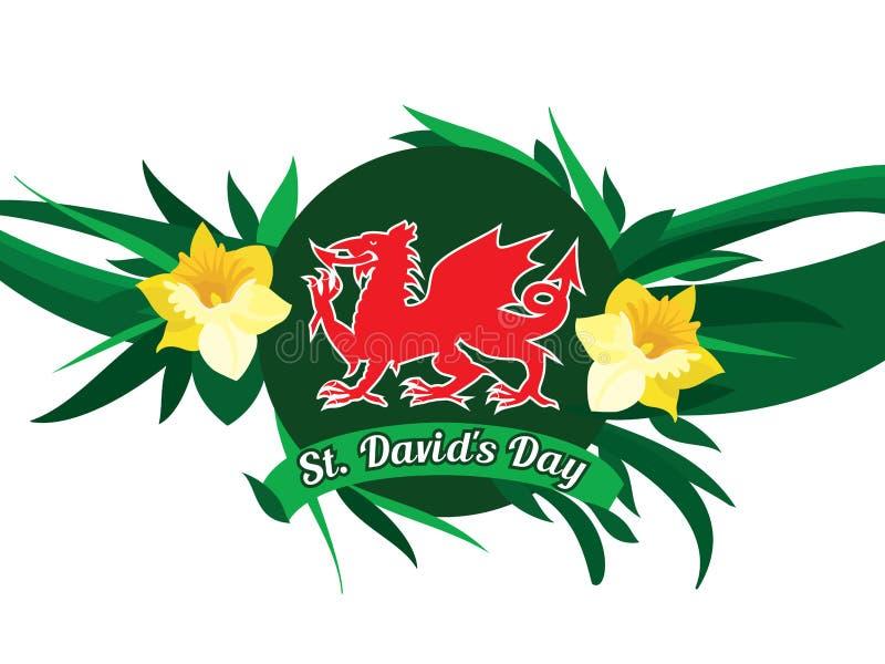 Día del St Davids stock de ilustración