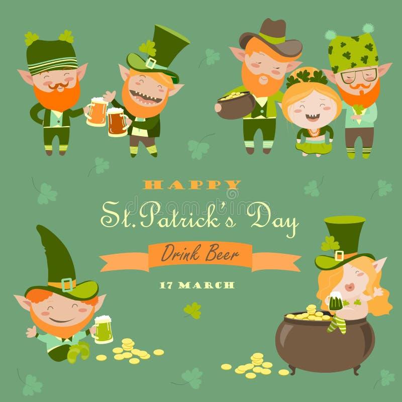 Día del St Partick con el duende stock de ilustración