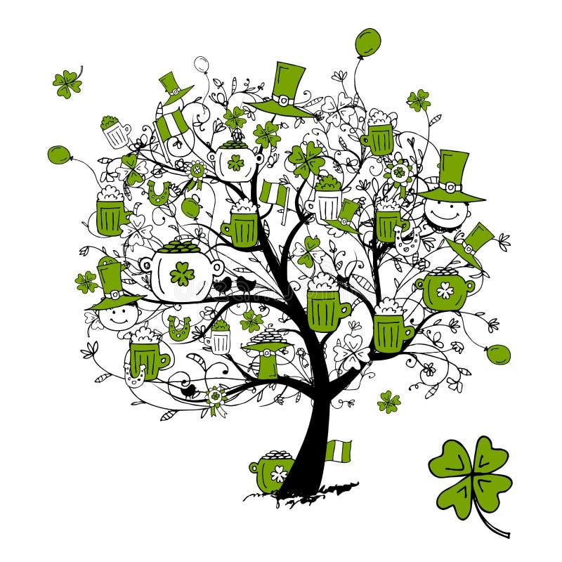 Día del St. Patrick, árbol de drenaje con las tazas de cerveza stock de ilustración