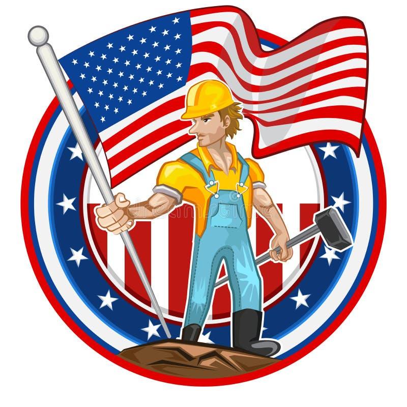 Día del Trabajo americano del trabajador ilustración del vector