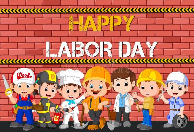 Día del Trabajo con diferencia del empleo de la gente ilustración del vector