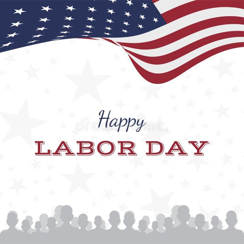 Día del Trabajo feliz Tarjeta de felicitación del día de fiesta con la bandera nacional de Estados Unidos Ejemplo plano EPS10 del ilustración del vector
