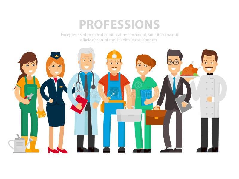 Día del Trabajo Un grupo de personas de diversas profesiones en un fondo blanco Ejemplo del vector en un estilo plano Médico libre illustration