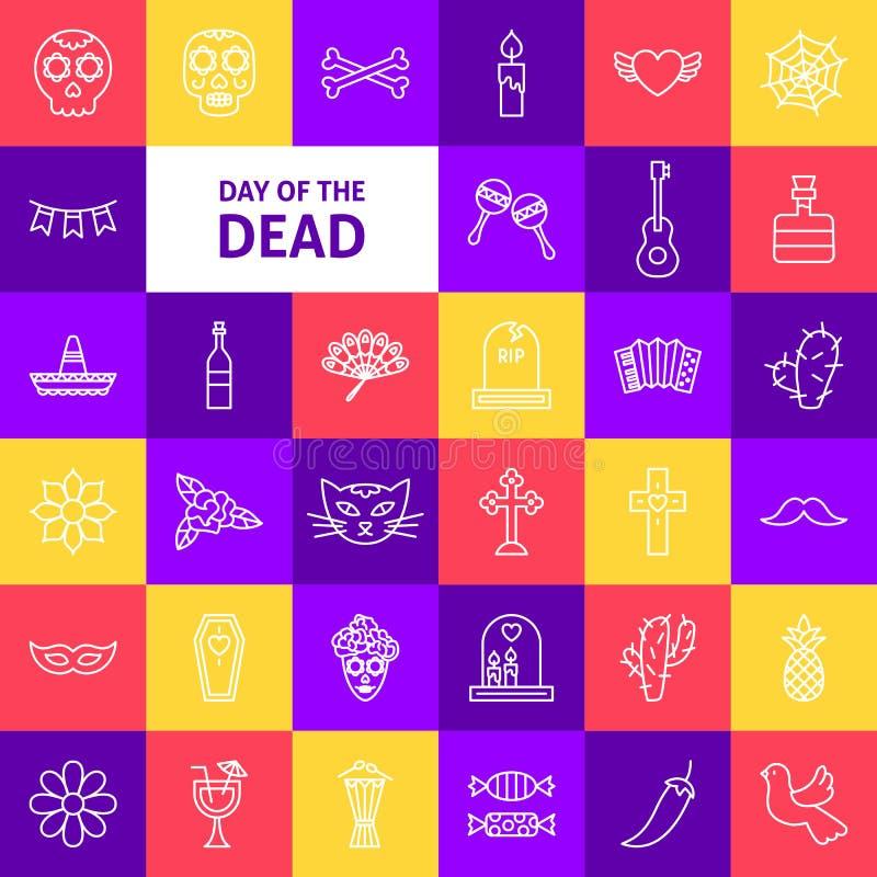 Día del vector de la línea muerta iconos libre illustration