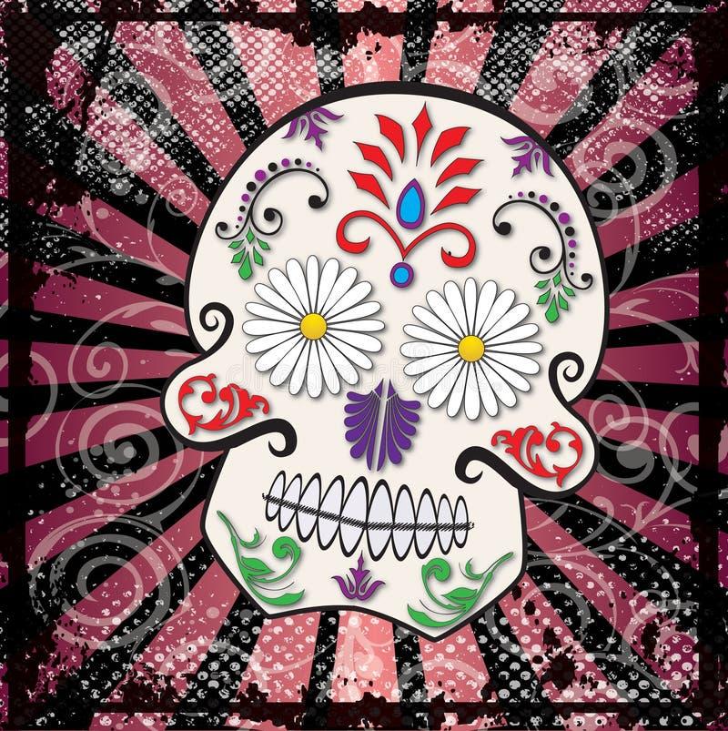 Día del vector muerto del cráneo del azúcar stock de ilustración