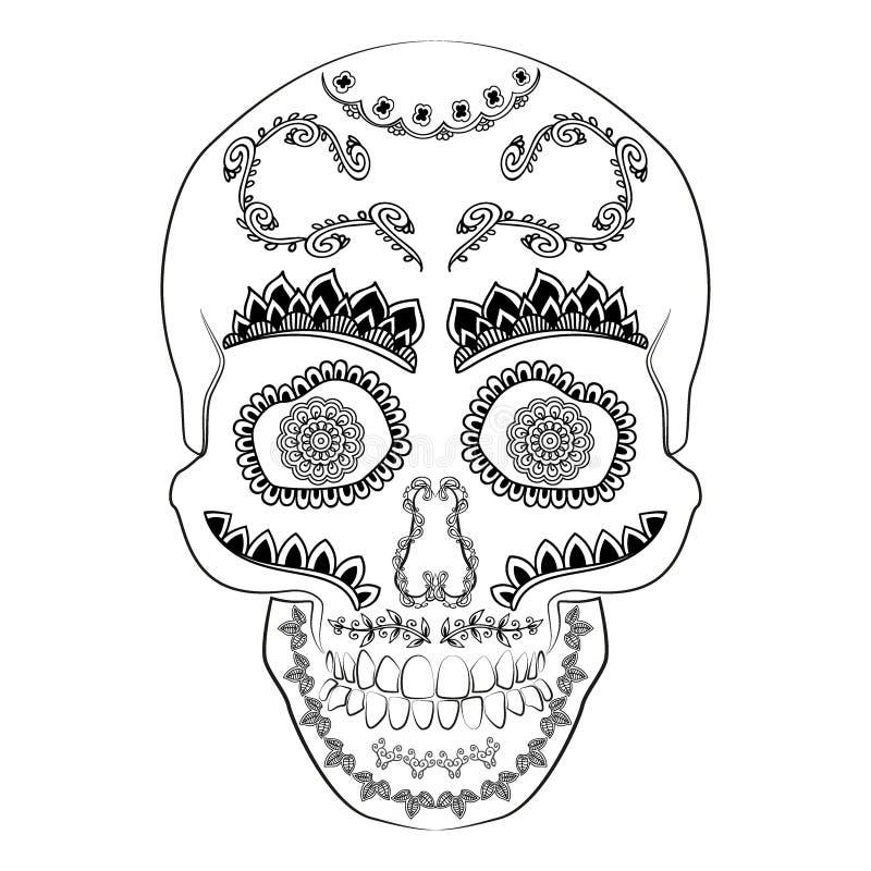Día del vector muerto del cráneo del azúcar Cráneo mexicano Ejemplo del cráneo del diámetro de los muertos Ilustración del vector libre illustration