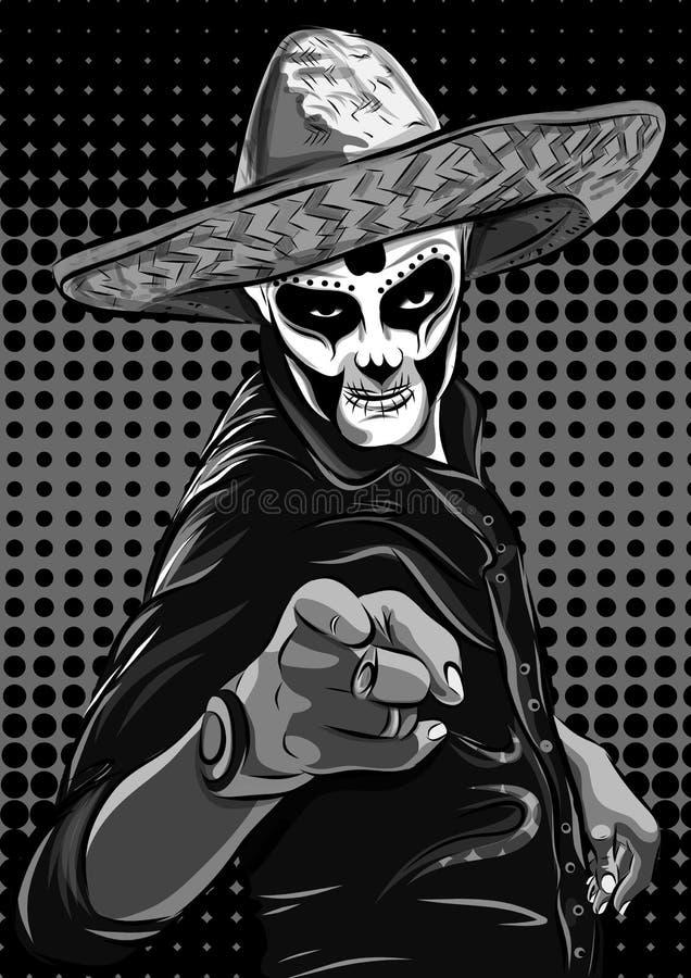 Día del vector muerto del hombre del cráneo del azúcar Cráneo mexicano Dia De Los Muertos Ilustración EPS10 stock de ilustración