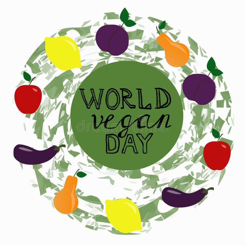 Día del vegano del mundo Plantilla, bandera, cartel libre illustration