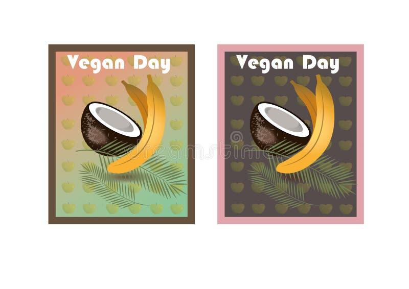 Día del vegano Para una forma de vida sana stock de ilustración
