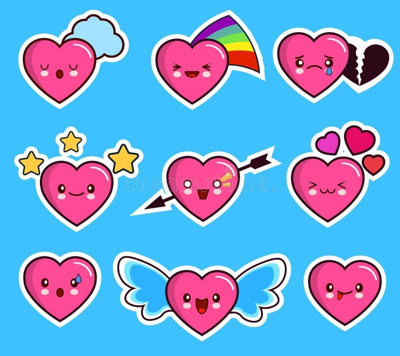 Día determinado de la tarjeta del día de San Valentín s del corazón del icono divertido del emoticon ilustración del vector