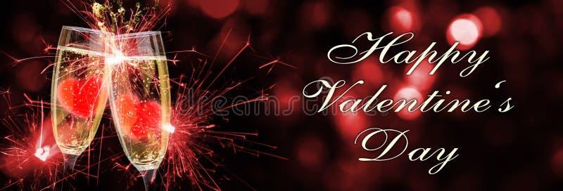 Día feliz, champán y corazones de Valentine's imagen de archivo libre de regalías
