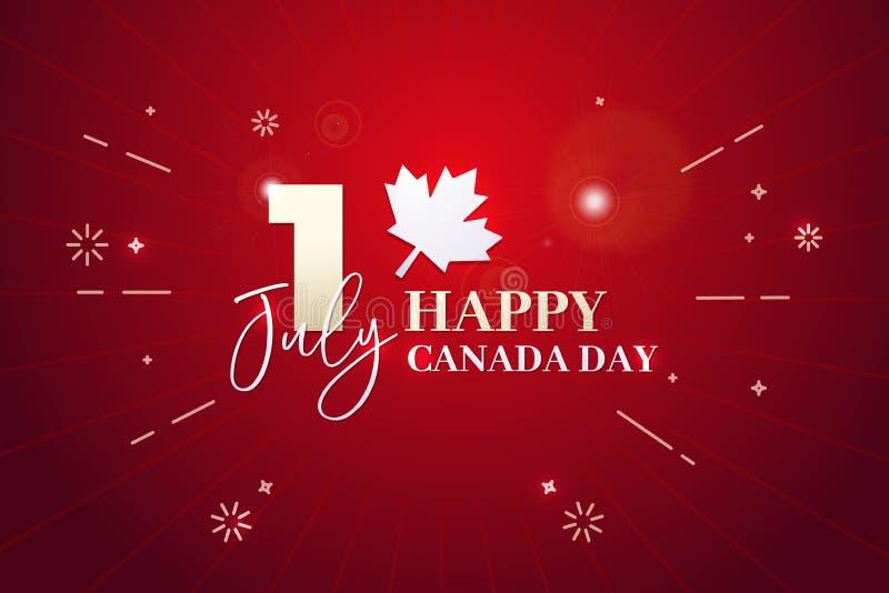 Día feliz de Canadá, primero de julio Ilustración del fondo del vector Colores de la bandera y formas de hoja de arce canadienses stock de ilustración