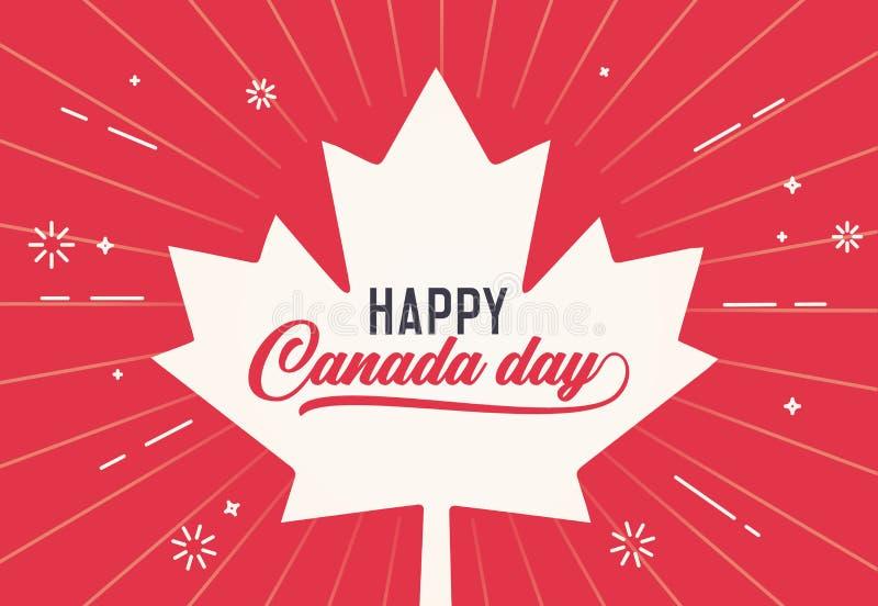 Día feliz de Canadá, primero de julio Ilustración del fondo del vector Colores y formas canadienses de la bandera Estilo retro ilustración del vector