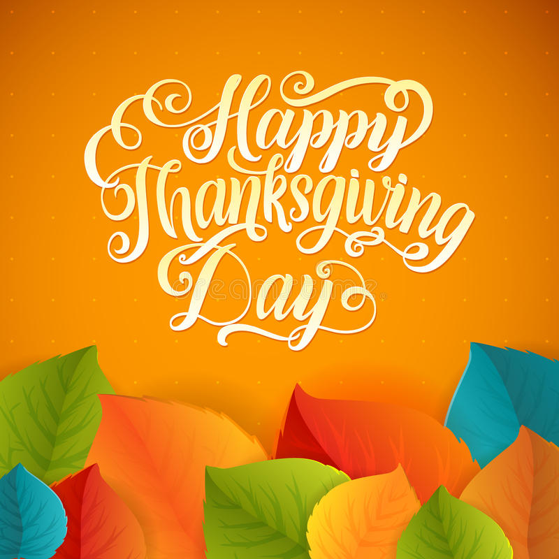 ¡Día feliz de la acción de gracias! Tarjeta de la hoja del saludo de la caligrafía con la polca Dot Background libre illustration