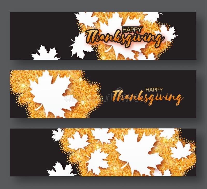 Día feliz de la acción de gracias Tarjeta de tres Autumn Greetings con las hojas de arce del blanco de la papiroflexia stock de ilustración