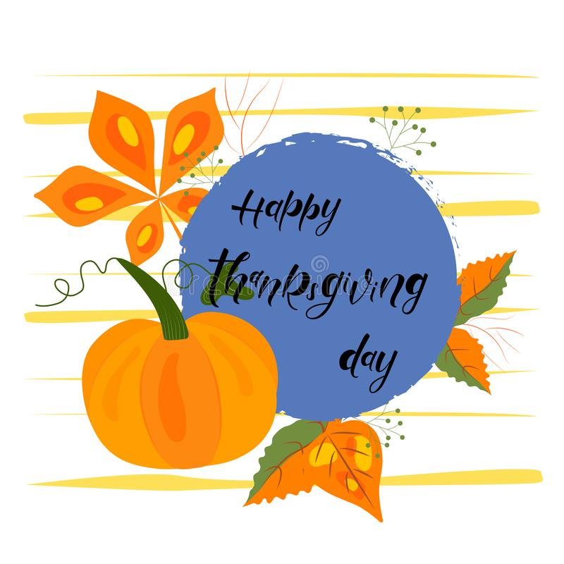 Día feliz de la acción de gracias - dé las letras, diseño del vector de la tipografía libre illustration