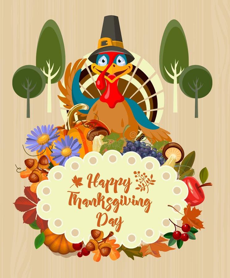 Día feliz de la acción de gracias Vector la tarjeta de felicitación con la fruta, las verduras, el pavo, las hojas y las flores d ilustración del vector