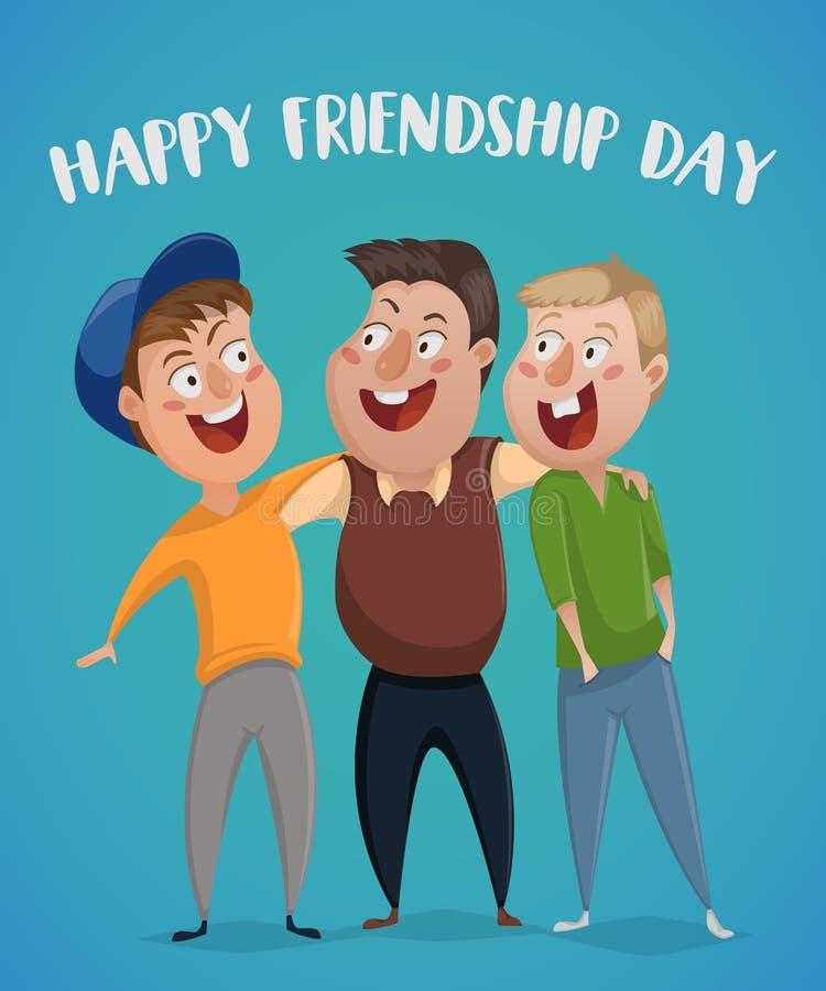 Día feliz de la amistad Abrazo de tres amigos libre illustration