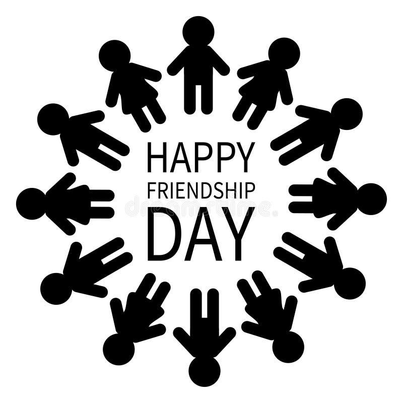 Día feliz de la amistad Muestra del icono del pictograma del hombre y de la mujer Círculo redondo de la gente Silueta hembra-varó ilustración del vector