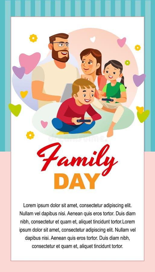 Día feliz de la familia con la plantilla de la tarjeta de felicitación de los niños ilustración del vector