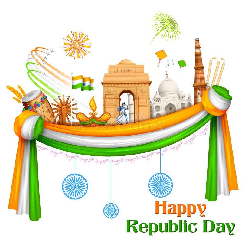 Día feliz de la república de fondo de la India ilustración del vector