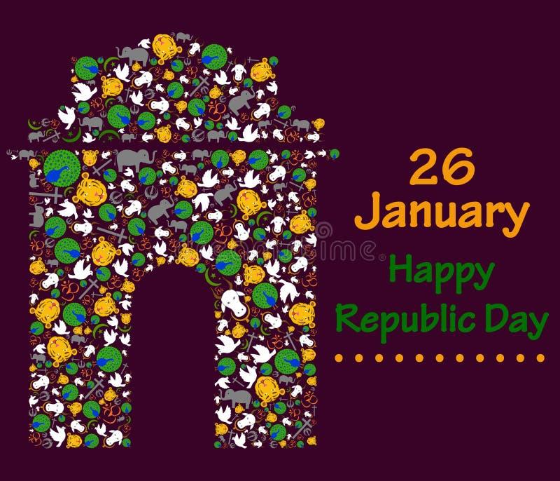 Día feliz de la república de la India stock de ilustración