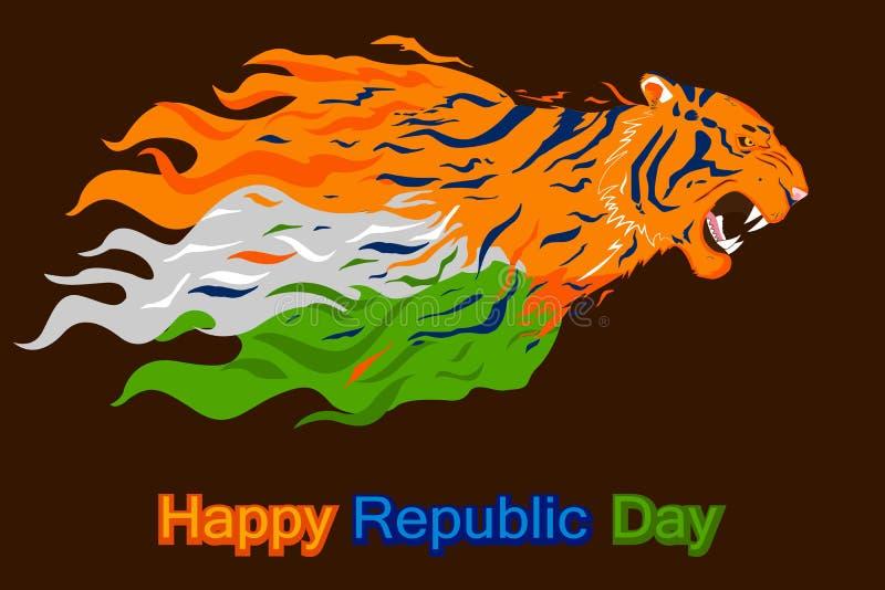 Día feliz de la república de la India con el tigre tricolor ilustración del vector