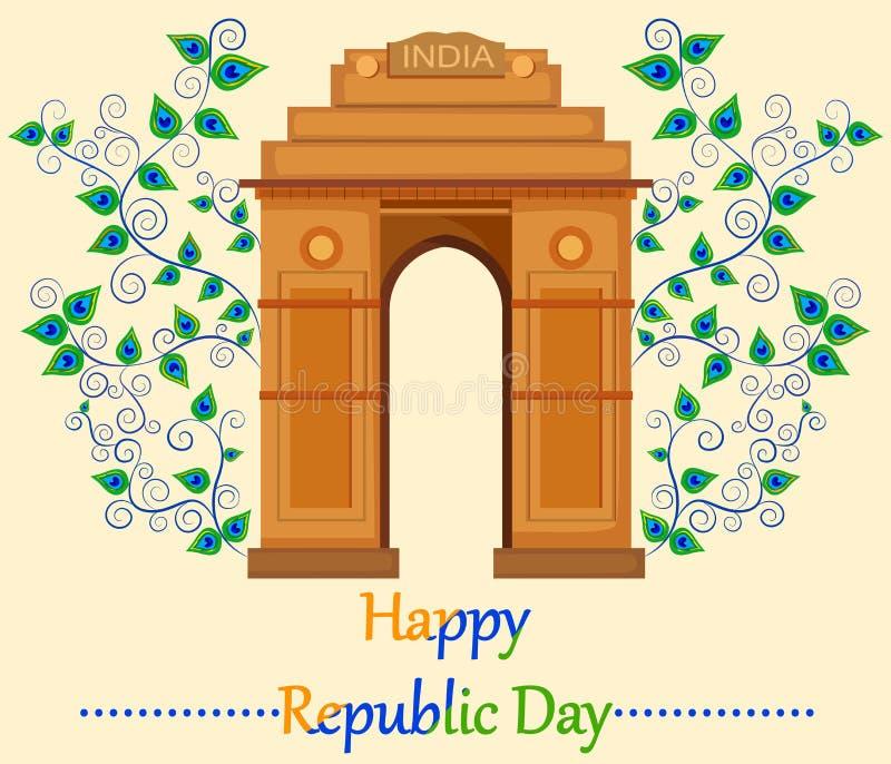 Día feliz de la república de la India con la puerta de la India stock de ilustración