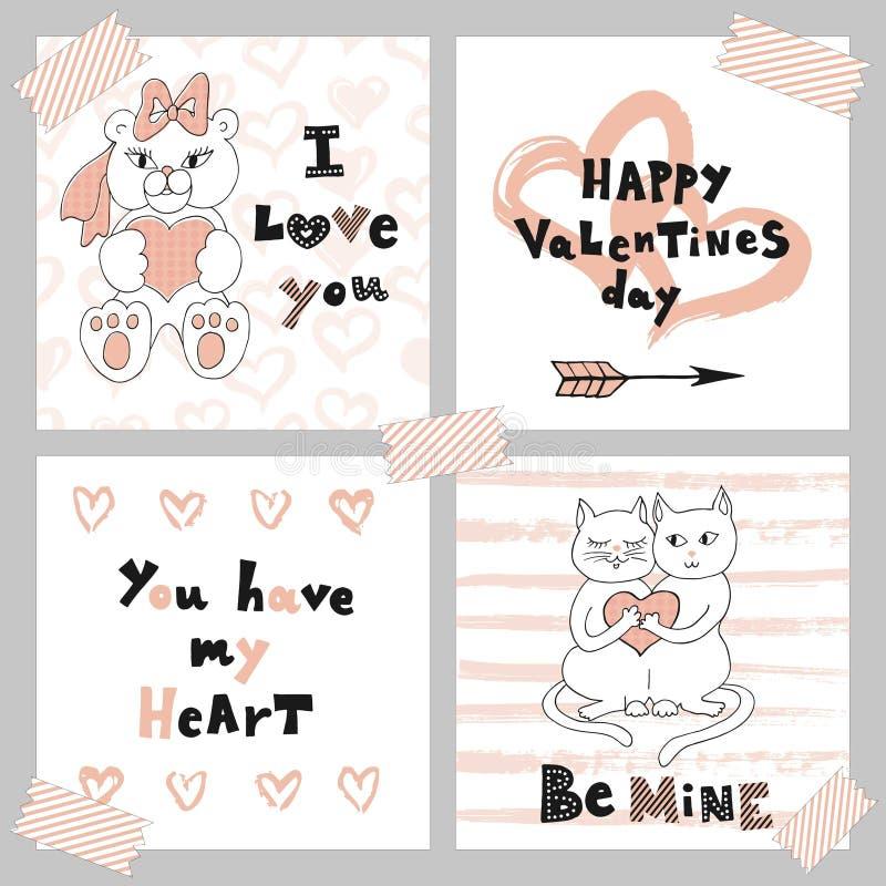 Día feliz de la tarjeta del día de San Valentín s La tarjeta de felicitación fijó con los gatitos y el oso de peluche lindos Tarj stock de ilustración