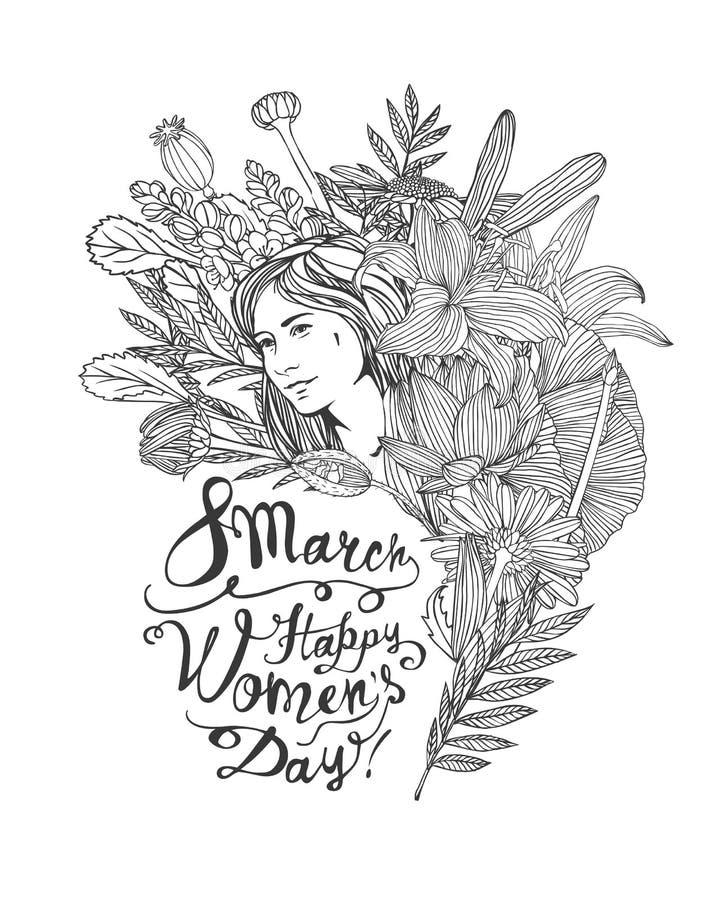 Día feliz de las mujeres 8 de marzo Muchacha en flores del lirio stock de ilustración