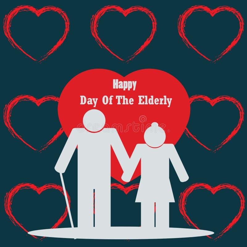 Día feliz de los abuelos Día feliz de los ancianos stock de ilustración