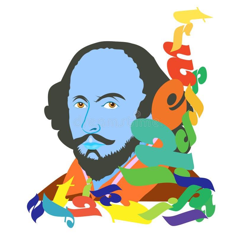 Día feliz de Shakespeare stock de ilustración
