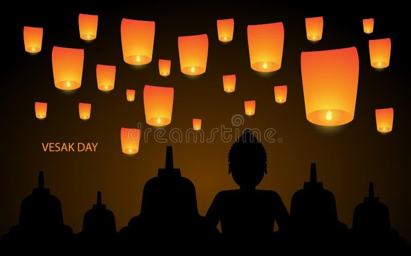 Día feliz de Vesak con la linterna y el templo ilustración del vector
