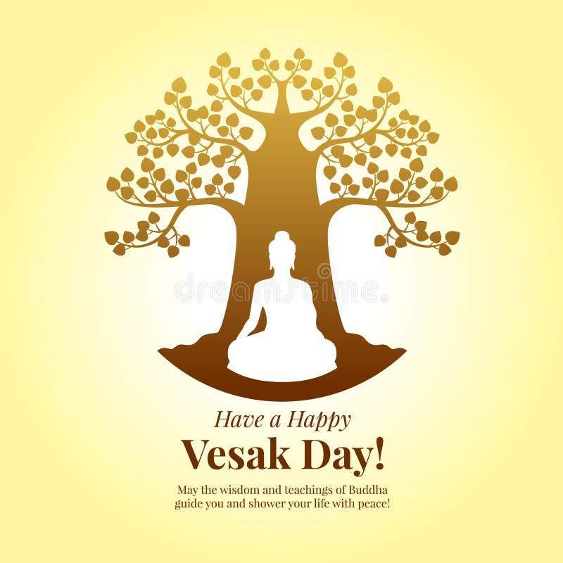 Día feliz de Vesak - meditación de Buda bajo muestra del árbol del bodhi en diseño amarillo del vector del arte del fondo libre illustration