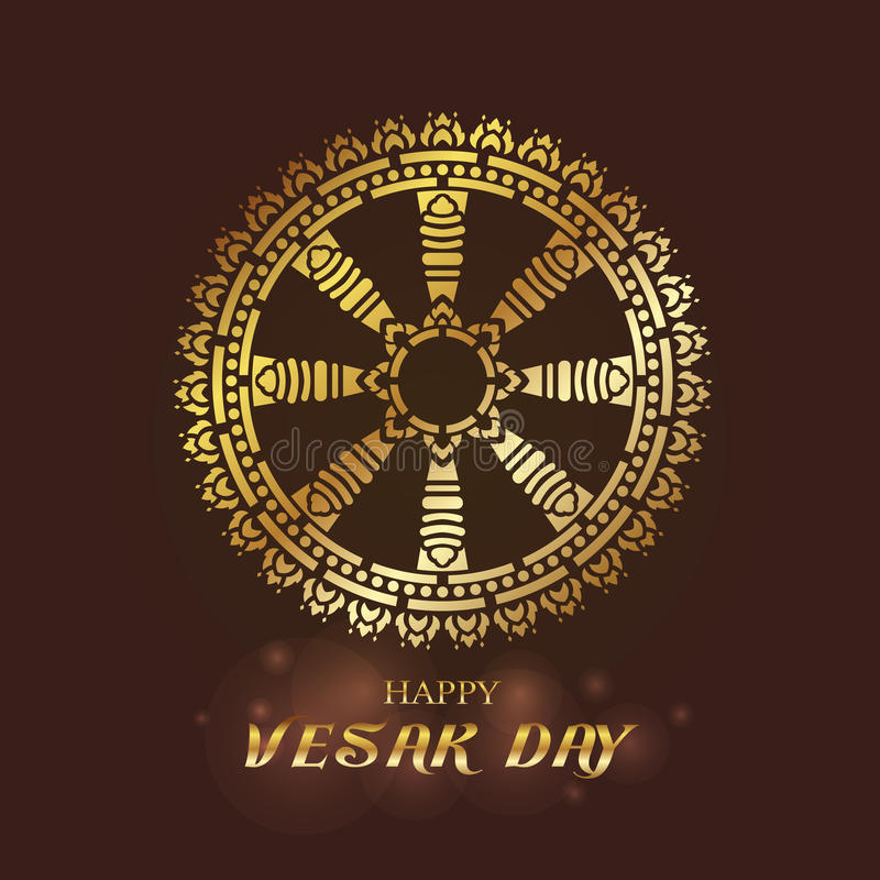 Día feliz de Vesak - oro Dharmachakra o rueda del diseño del vector del arte de Dhamma libre illustration